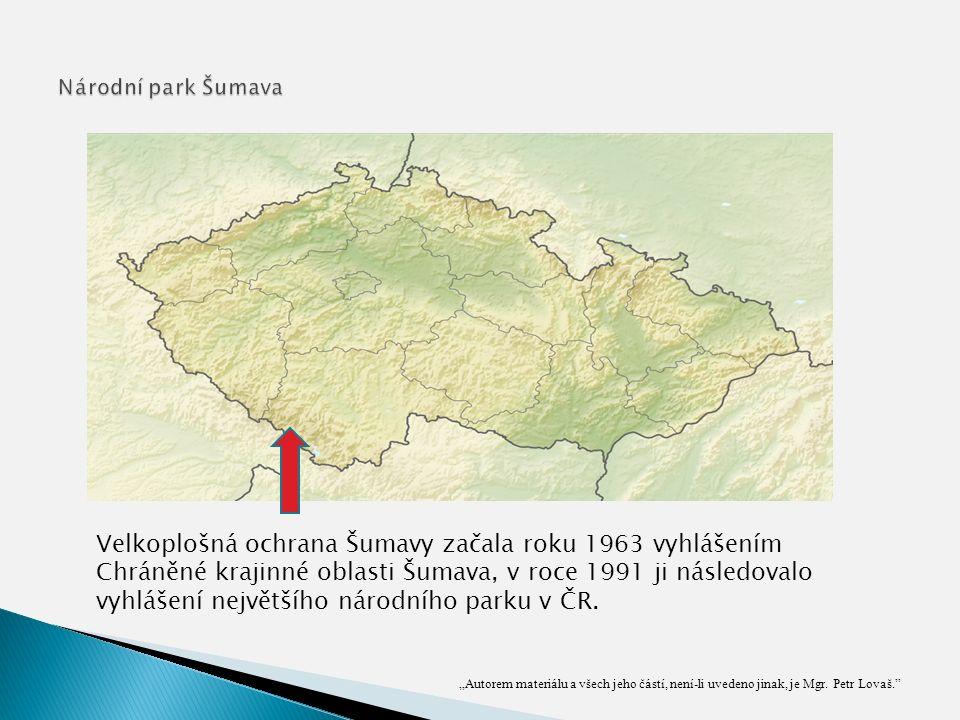 Velkoplošná ochrana Šumavy začala roku 1963 vyhlášením Chráněné krajinné oblasti Šumava, v roce 1991 ji následovalo vyhlášení největšího národního parku v ČR.