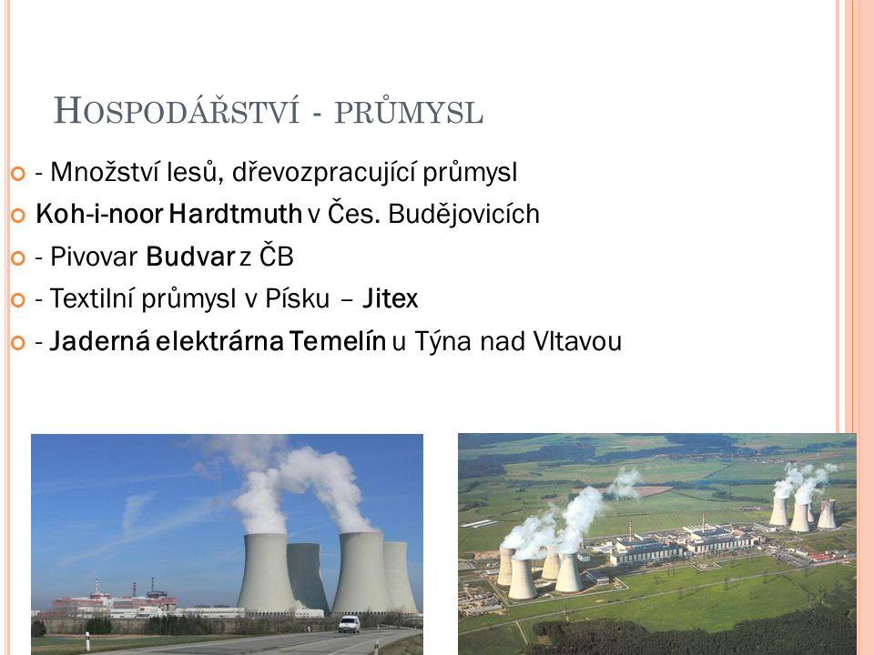 H OSPODÁŘSTVÍ - PRŮMYSL - Množství lesů, dřevozpracující průmysl Koh-i-noor Hardtmuth v Čes.