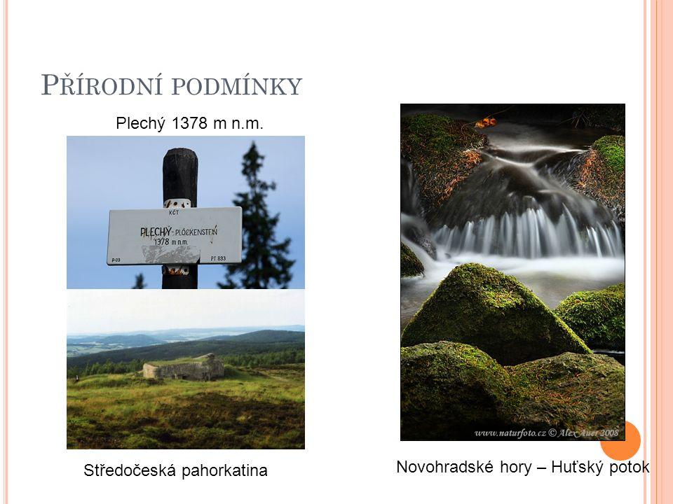 P ŘÍRODNÍ PODMÍNKY Novohradské hory – Huťský potok Plechý 1378 m n.m. Středočeská pahorkatina
