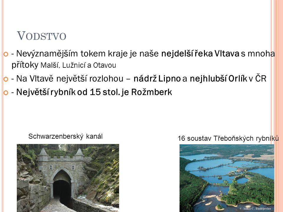 V ODSTVO - Nevýznamějším tokem kraje je naše nejdelší řeka Vltava s mnoha přítoky Malší, Lužnicí a Otavou - Na Vltavě největší rozlohou – nádrž Lipno a nejhlubší Orlík v ČR - Největší rybník od 15 stol.