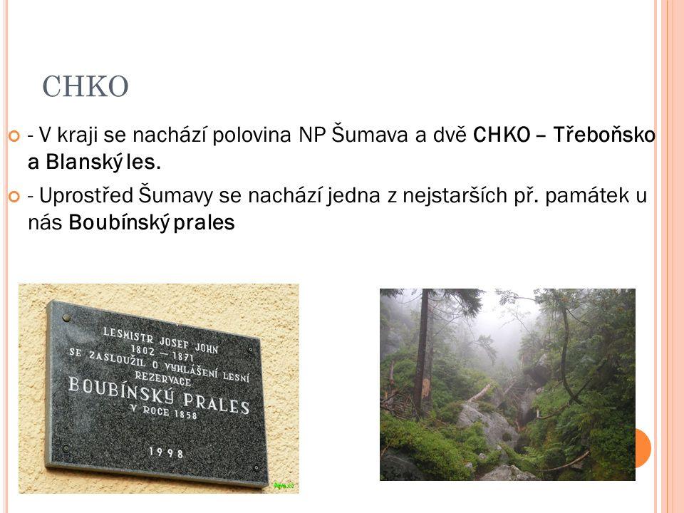 CHKO - V kraji se nachází polovina NP Šumava a dvě CHKO – Třeboňsko a Blanský les.