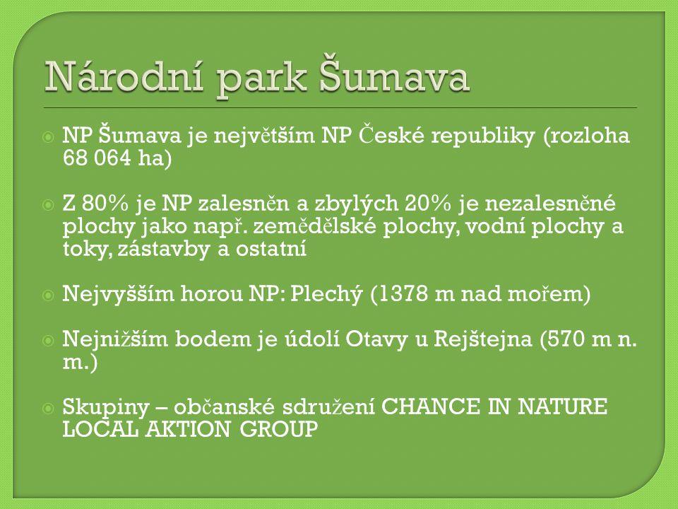  NP Šumava je nejv ě tším NP Č eské republiky (rozloha 68 064 ha)  Z 80% je NP zalesn ě n a zbylých 20% je nezalesn ě né plochy jako nap ř. zem ě d