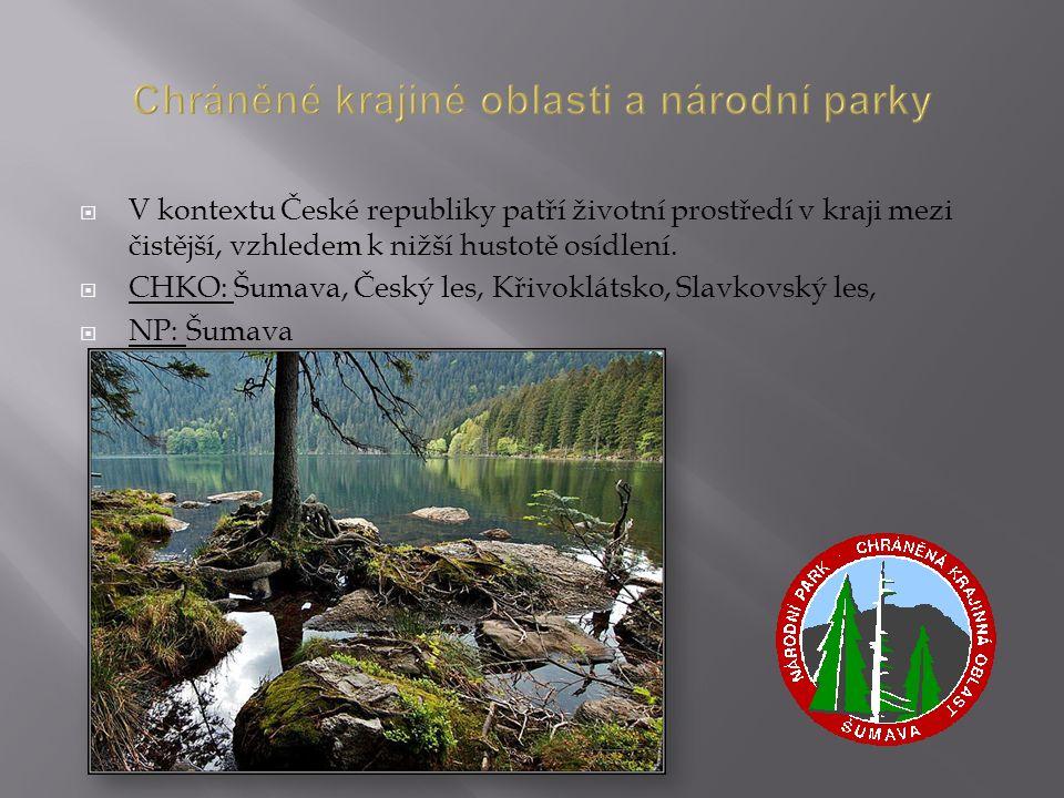 Chráněné krajiné oblasti a národní parky  V kontextu České republiky patří životní prostředí v kraji mezi čistější, vzhledem k nižší hustotě osídlení.