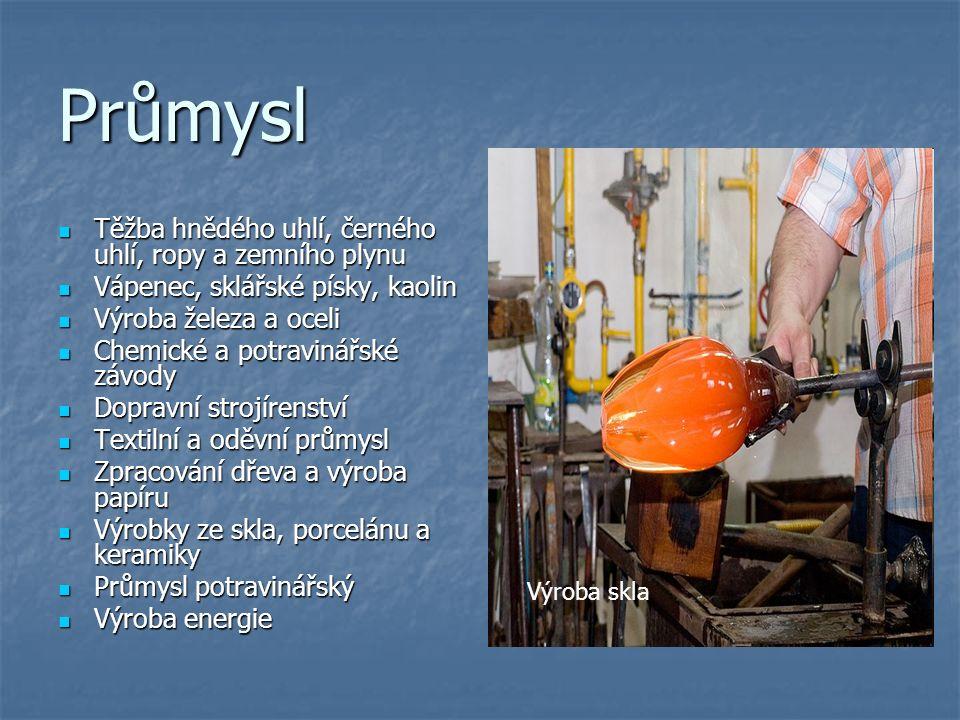 Průmysl Těžba hnědého uhlí, černého uhlí, ropy a zemního plynu Těžba hnědého uhlí, černého uhlí, ropy a zemního plynu Vápenec, sklářské písky, kaolin Vápenec, sklářské písky, kaolin Výroba železa a oceli Výroba železa a oceli Chemické a potravinářské závody Chemické a potravinářské závody Dopravní strojírenství Dopravní strojírenství Textilní a oděvní průmysl Textilní a oděvní průmysl Zpracování dřeva a výroba papíru Zpracování dřeva a výroba papíru Výrobky ze skla, porcelánu a keramiky Výrobky ze skla, porcelánu a keramiky Průmysl potravinářský Průmysl potravinářský Výroba energie Výroba energie Výroba skla
