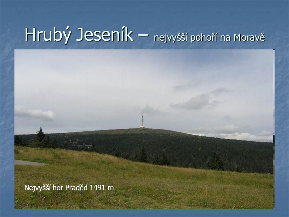 Hrubý Jeseník – nejvyšší pohoří na Moravě Nejvyšší hor Praděd 1491 m