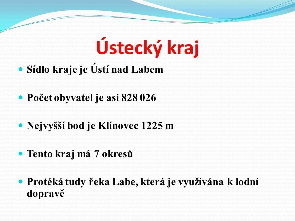 Ústecký kraj Sídlo kraje je Ústí nad Labem Počet obyvatel je asi 828 026 Nejvyšší bod je Klínovec 1225 m Tento kraj má 7 okresů Protéká tudy řeka Labe, která je využívána k lodní dopravě