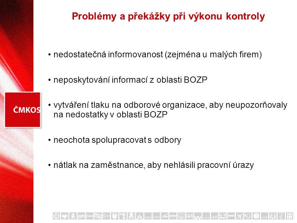 Problémy a překážky při výkonu kontroly nedostatečná informovanost (zejména u malých firem) neposkytování informací z oblasti BOZP vytváření tlaku na