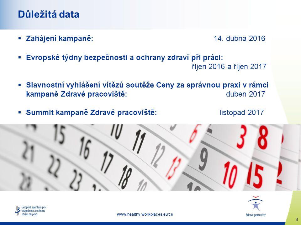 8 www.healthy-workplaces.eu/cs Důležitá data  Zahájení kampaně: 14. dubna 2016  Evropské týdny bezpečnosti a ochrany zdraví při práci: říjen 2016 a