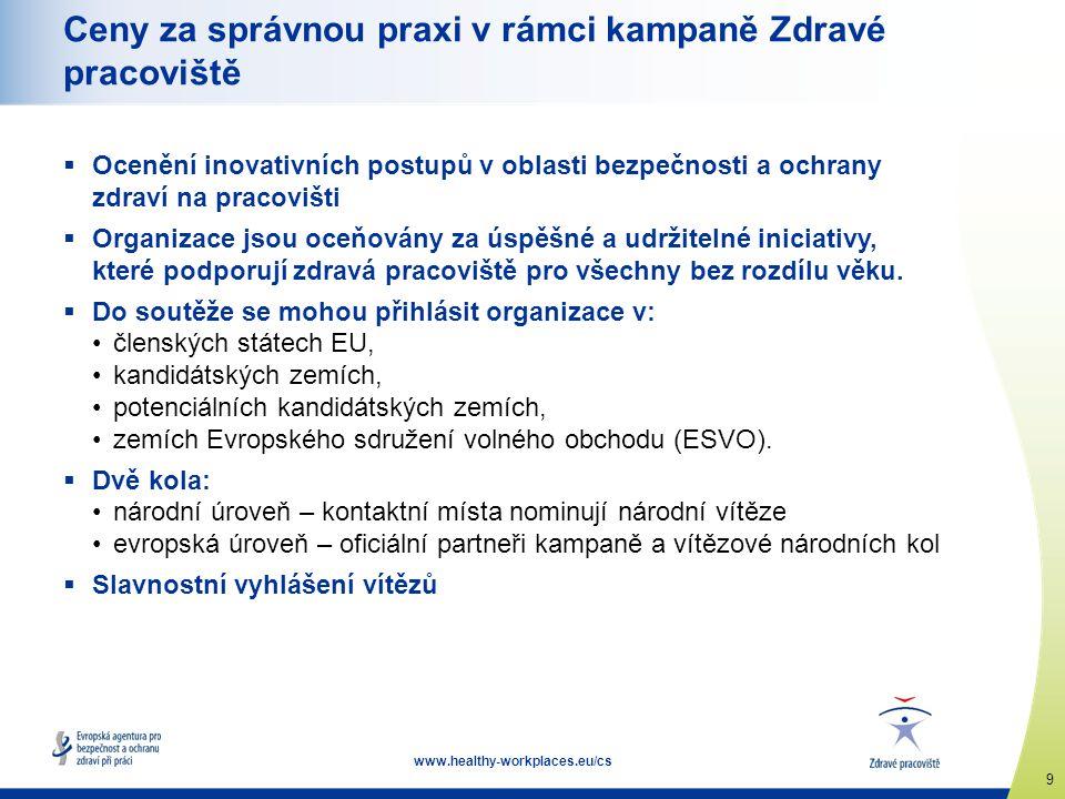 9 www.healthy-workplaces.eu/cs Ceny za správnou praxi v rámci kampaně Zdravé pracoviště  Ocenění inovativních postupů v oblasti bezpečnosti a ochrany