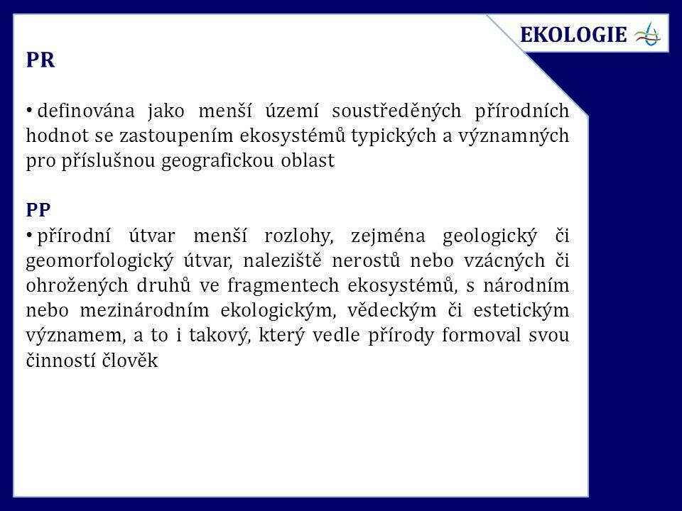 PR definována jako menší území soustředěných přírodních hodnot se zastoupením ekosystémů typických a významných pro příslušnou geografickou oblast PP