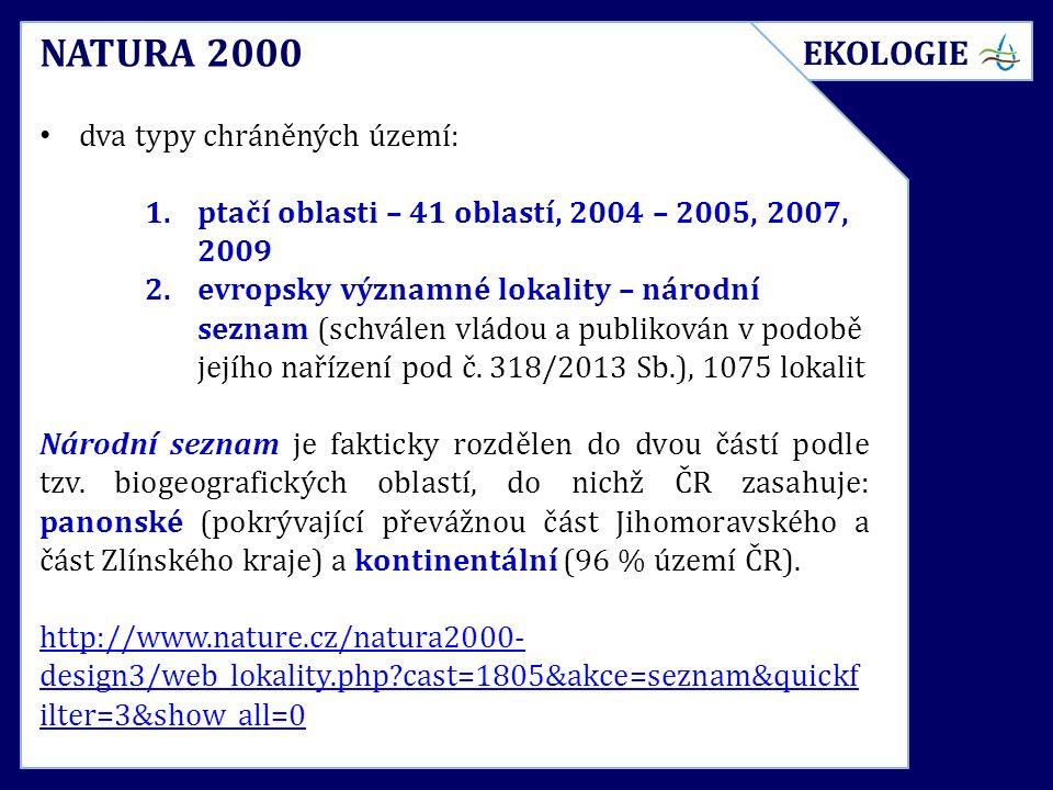 NATURA 2000 dva typy chráněných území: 1.ptačí oblasti – 41 oblastí, 2004 – 2005, 2007, 2009 2.evropsky významné lokality – národní seznam (schválen vládou a publikován v podobě jejího nařízení pod č.