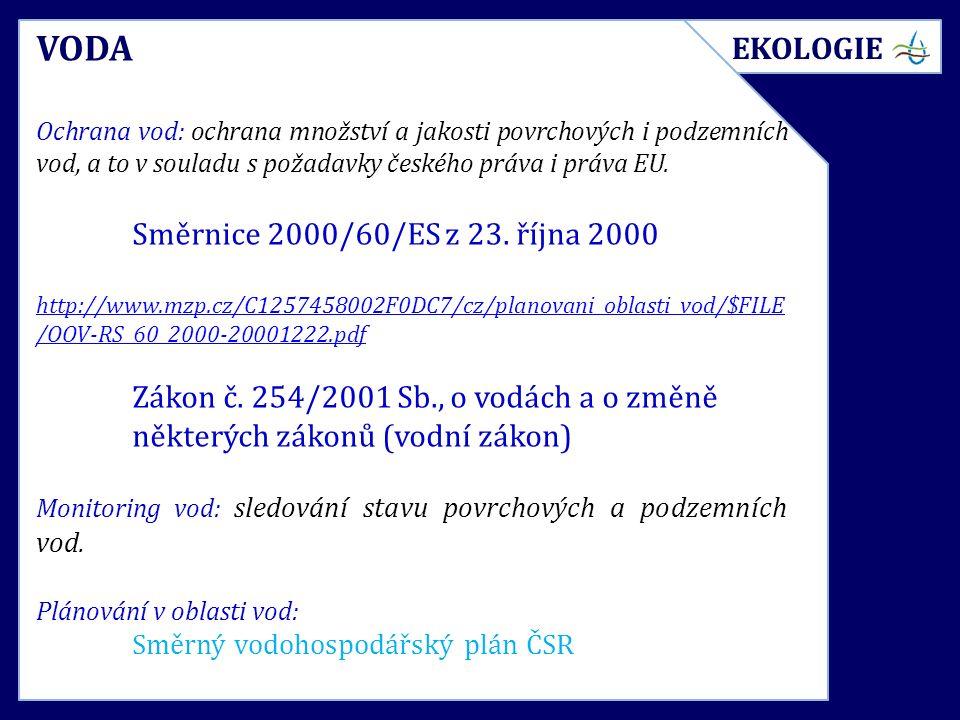 VODA Ochrana vod: ochrana množství a jakosti povrchových i podzemních vod, a to v souladu s požadavky českého práva i práva EU. Směrnice 2000/60/ES z