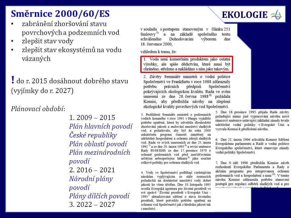 Směrnice 2000/60/ES zabránění zhoršování stavu povrchových a podzemních vod zlepšit stav vody zlepšit stav ekosystémů na vodu vázaných ! do r. 2015 do