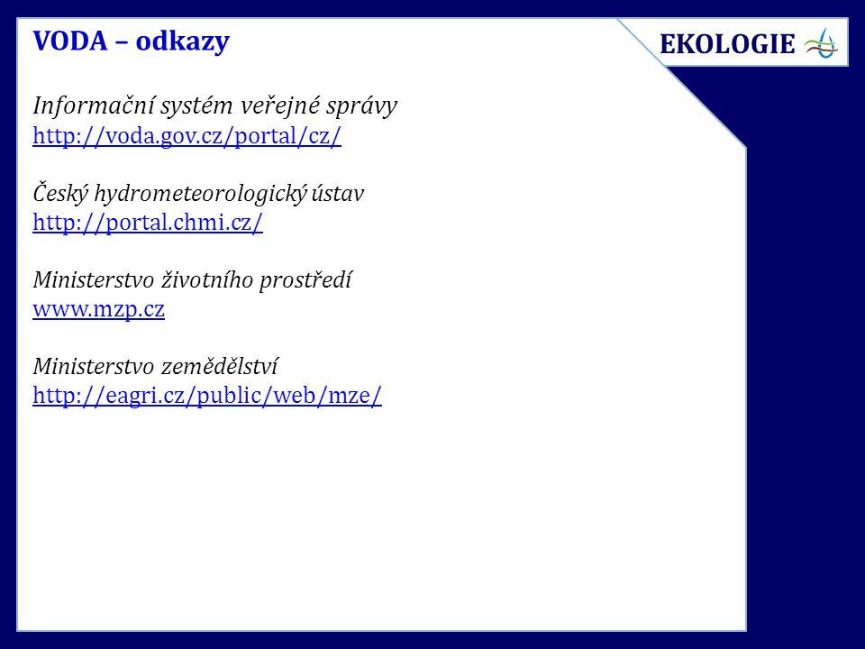 VODA – odkazy Informační systém veřejné správy http://voda.gov.cz/portal/cz/ Český hydrometeorologický ústav http://portal.chmi.cz/ Ministerstvo život