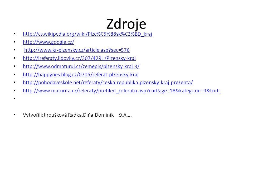 Zdroje http://cs.wikipedia.org/wiki/Plze%C5%88sk%C3%BD_kraj http://www.google.cz/ http://www.kr-plzensky.cz/article.asp sec=576 http://ireferaty.lidovky.cz/307/4291/Plzensky-kraj http://www.odmaturuj.cz/zemepis/plzensky-kraj-3/ http://happynes.blog.cz/0705/referat-plzensky-kraj http://pohodaveskole.net/referaty/ceska-republika-plzensky-kraj-prezenta/ http://www.maturita.cz/referaty/prehled_referatu.asp curPage=18&kategorie=9&trid= Vytvořili:Jiroušková Radka,Diňa Dominik 9.A….