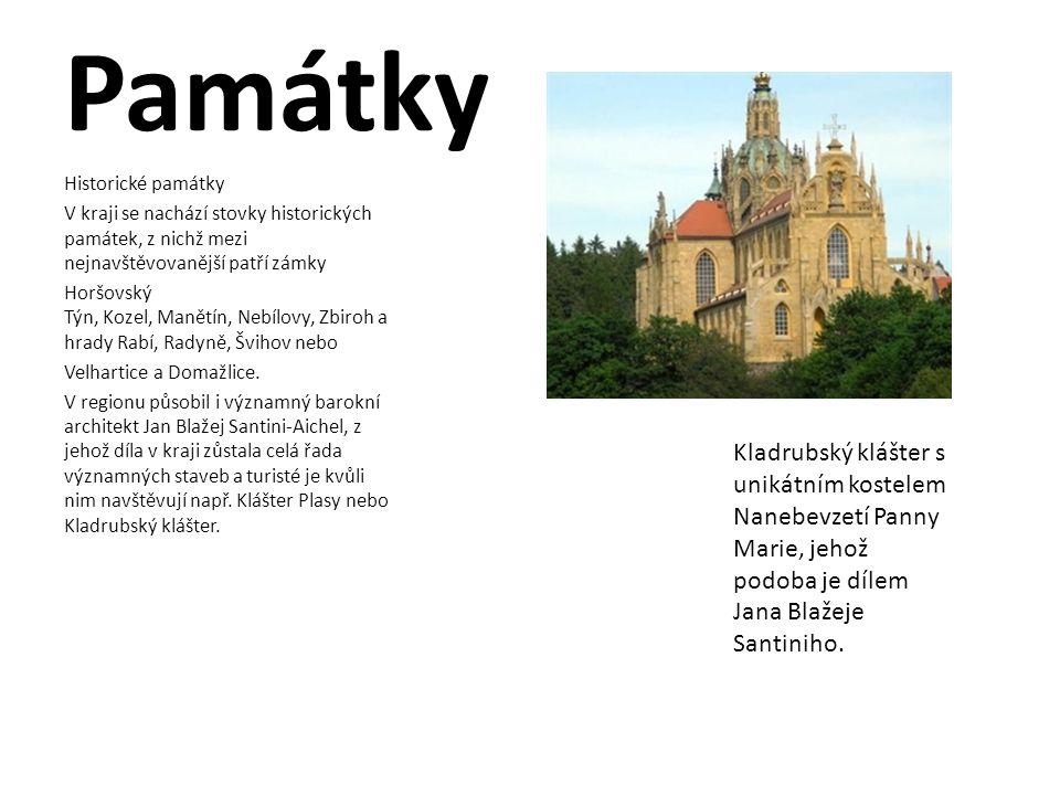 Památky Historické památky V kraji se nachází stovky historických památek, z nichž mezi nejnavštěvovanější patří zámky Horšovský Týn, Kozel, Manětín,