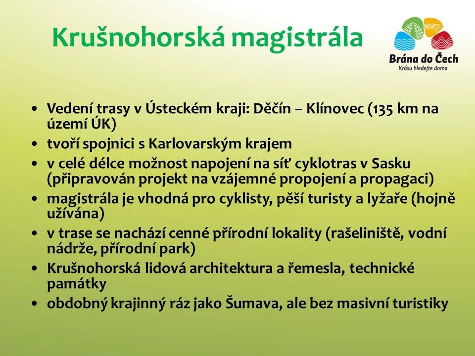 Krušnohorská magistrála Vedení trasy v Ústeckém kraji: Děčín – Klínovec (135 km na území ÚK) tvoří spojnici s Karlovarským krajem v celé délce možnost napojení na síť cyklotras v Sasku (připravován projekt na vzájemné propojení a propagaci) magistrála je vhodná pro cyklisty, pěší turisty a lyžaře (hojně užívána) v trase se nachází cenné přírodní lokality (rašeliniště, vodní nádrže, přírodní park) Krušnohorská lidová architektura a řemesla, technické památky obdobný krajinný ráz jako Šumava, ale bez masivní turistiky