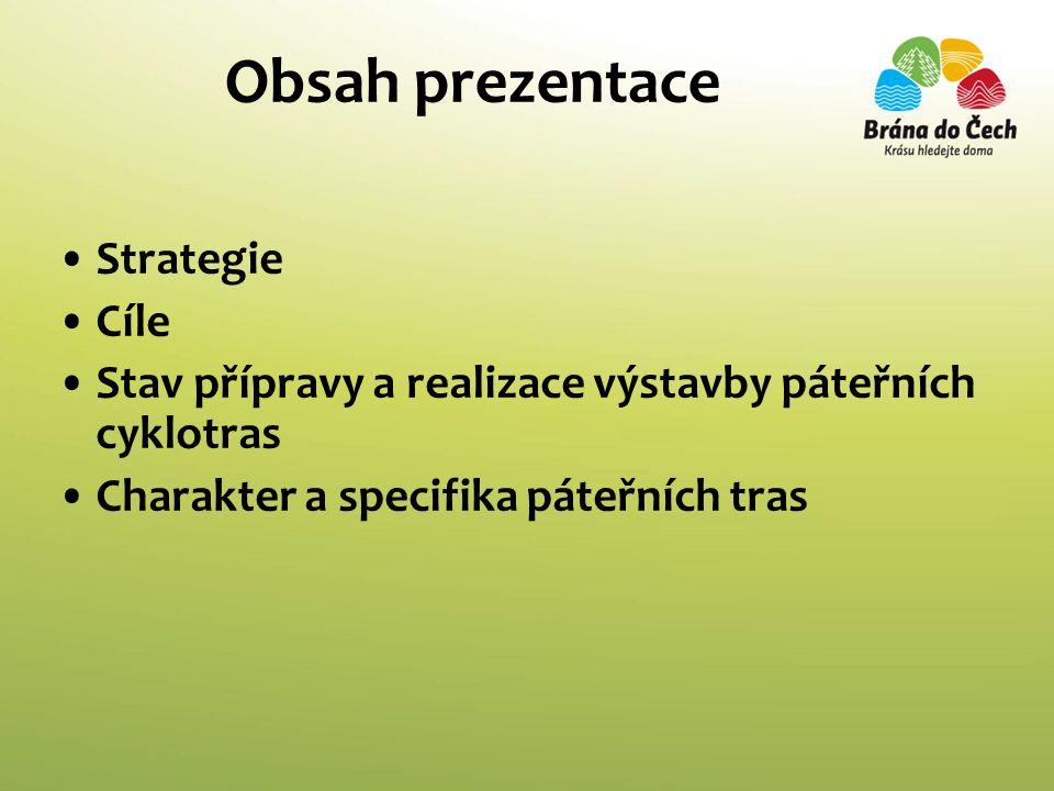 Obsah prezentace Strategie Cíle Stav přípravy a realizace výstavby páteřních cyklotras Charakter a specifika páteřních tras