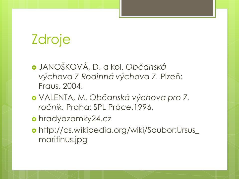 Zdroje  JANOŠKOVÁ, D. a kol. Občanská výchova 7 Rodinná výchova 7. Plzeň: Fraus, 2004.  VALENTA, M. Občanská výchova pro 7. ročník. Praha: SPL Práce