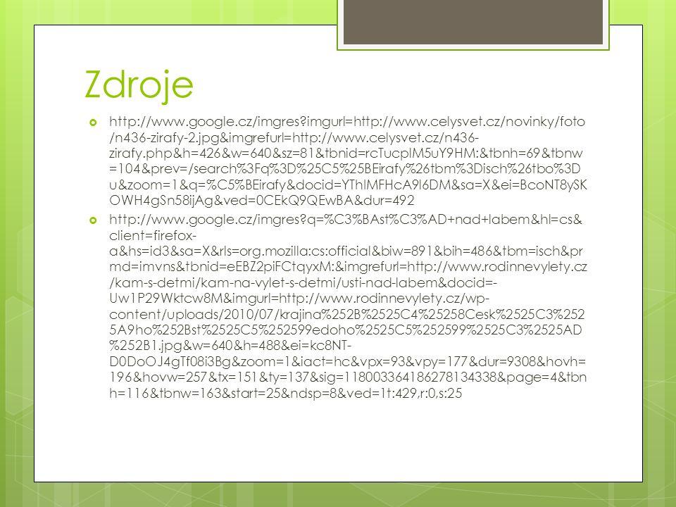 Zdroje  http://www.google.cz/imgres?imgurl=http://www.celysvet.cz/novinky/foto /n436-zirafy-2.jpg&imgrefurl=http://www.celysvet.cz/n436- zirafy.php&h
