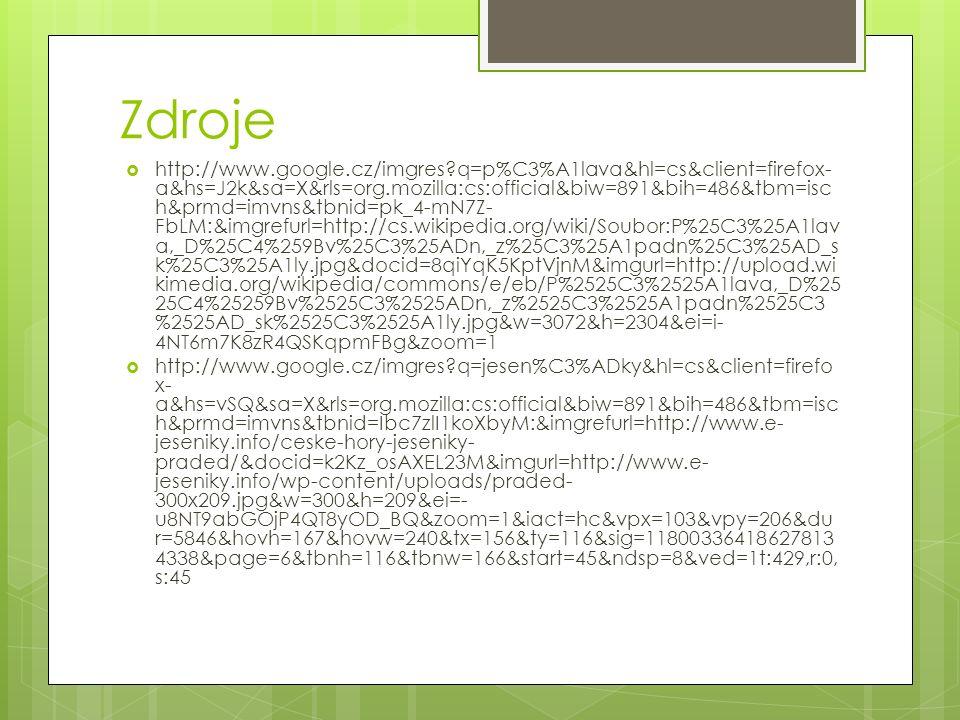 Zdroje  http://www.google.cz/imgres?q=p%C3%A1lava&hl=cs&client=firefox- a&hs=J2k&sa=X&rls=org.mozilla:cs:official&biw=891&bih=486&tbm=isc h&prmd=imvn