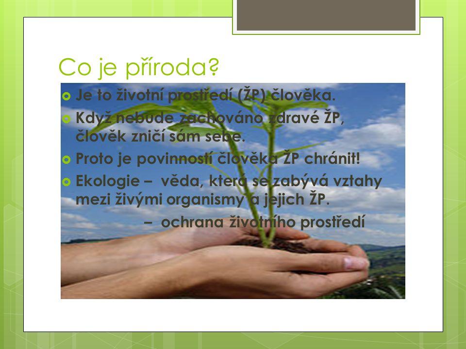 Co je příroda?  Je to životní prostředí (ŽP) člověka.  Když nebude zachováno zdravé ŽP, člověk zničí sám sebe.  Proto je povinností člověka ŽP chrá