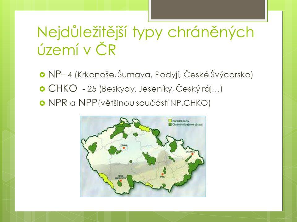 Nejdůležitější typy chráněných území v ČR  NP – 4 (Krkonoše, Šumava, Podyjí, České Švýcarsko)  CHKO - 25 (Beskydy, Jeseníky, Český ráj…)  NPR a NPP