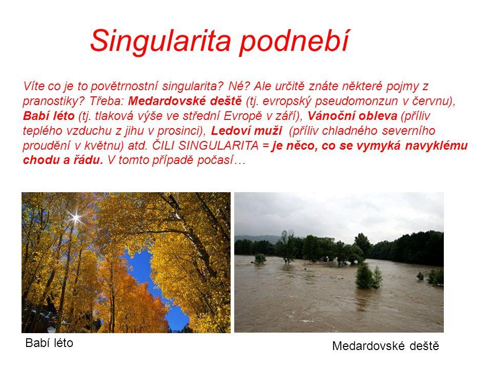 Singularita podnebí Víte co je to povětrnostní singularita? Né? Ale určitě znáte některé pojmy z pranostiky? Třeba: Medardovské deště (tj. evropský ps