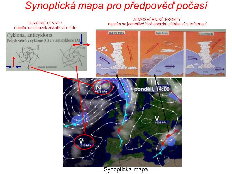 Synoptická mapa pro předpověď počasí ATMOSFÉRICKÉ FRONTY najetím na jednotlivé části obrázků získáte více informací. TLAKOVÉ ÚTVARY najetím na obrázek