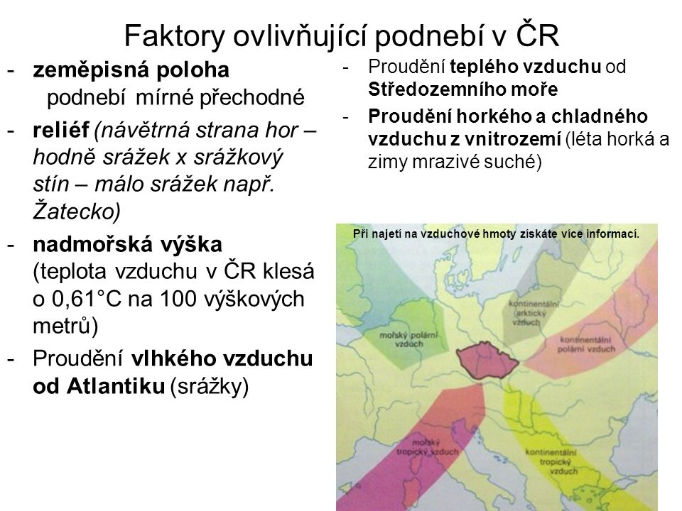 Faktory ovlivňující podnebí v ČR - zeměpisná poloha podnebí mírné přechodné -reliéf (návětrná strana hor – hodně srážek x srážkový stín – málo srážek