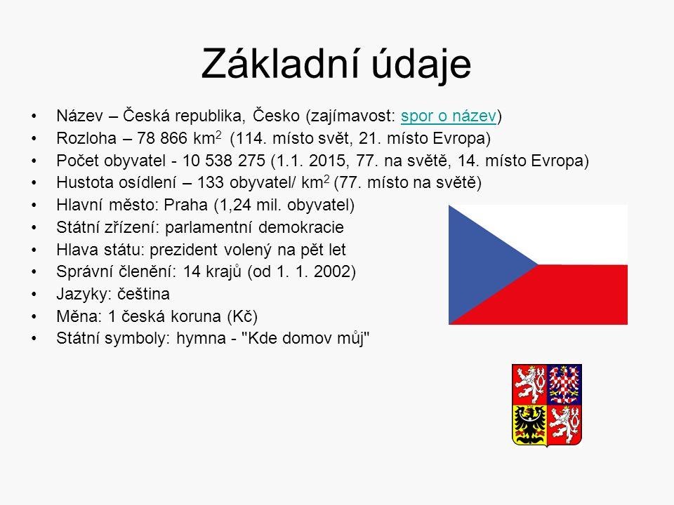 Základní údaje Název – Česká republika, Česko (zajímavost: spor o název)spor o název Rozloha – 78 866 km 2 (114. místo svět, 21. místo Evropa) Počet o