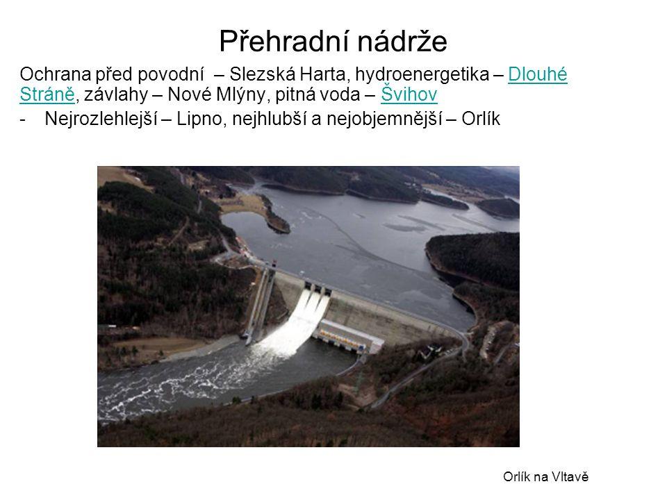 Přehradní nádrže Ochrana před povodní – Slezská Harta, hydroenergetika – Dlouhé Stráně, závlahy – Nové Mlýny, pitná voda – ŠvihovDlouhé StráněŠvihov -