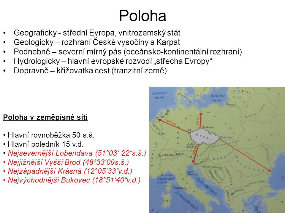 Poloha Geograficky - střední Evropa, vnitrozemský stát Geologicky – rozhraní České vysočiny a Karpat Podnebně – severní mírný pás (oceánsko-kontinentá