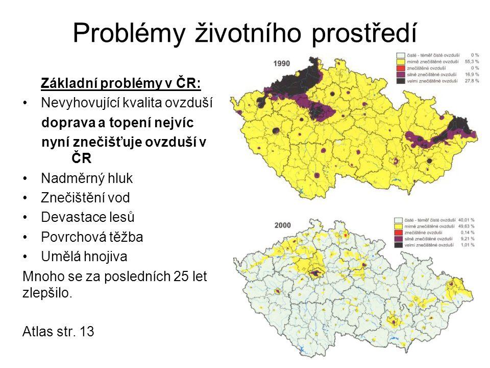Problémy životního prostředí Základní problémy v ČR: Nevyhovující kvalita ovzduší doprava a topení nejvíc nyní znečišťuje ovzduší v ČR Nadměrný hluk Z