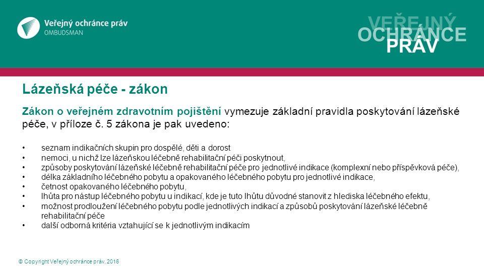 Lázeňská péče - vyhláška © Copyright Veřejný ochránce práv, 2016 Vyhláška č.