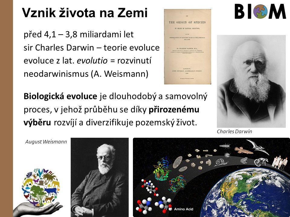 Vznik života na Zemi před 4,1 – 3,8 miliardami let sir Charles Darwin – teorie evoluce evoluce z lat. evolutio = rozvinutí neodarwinismus (A. Weismann