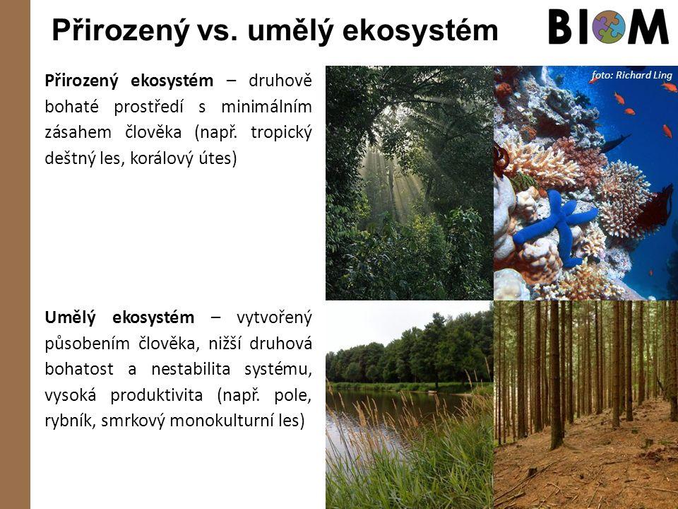 Přirozený vs. umělý ekosystém Přirozený ekosystém – druhově bohaté prostředí s minimálním zásahem člověka (např. tropický deštný les, korálový útes) f