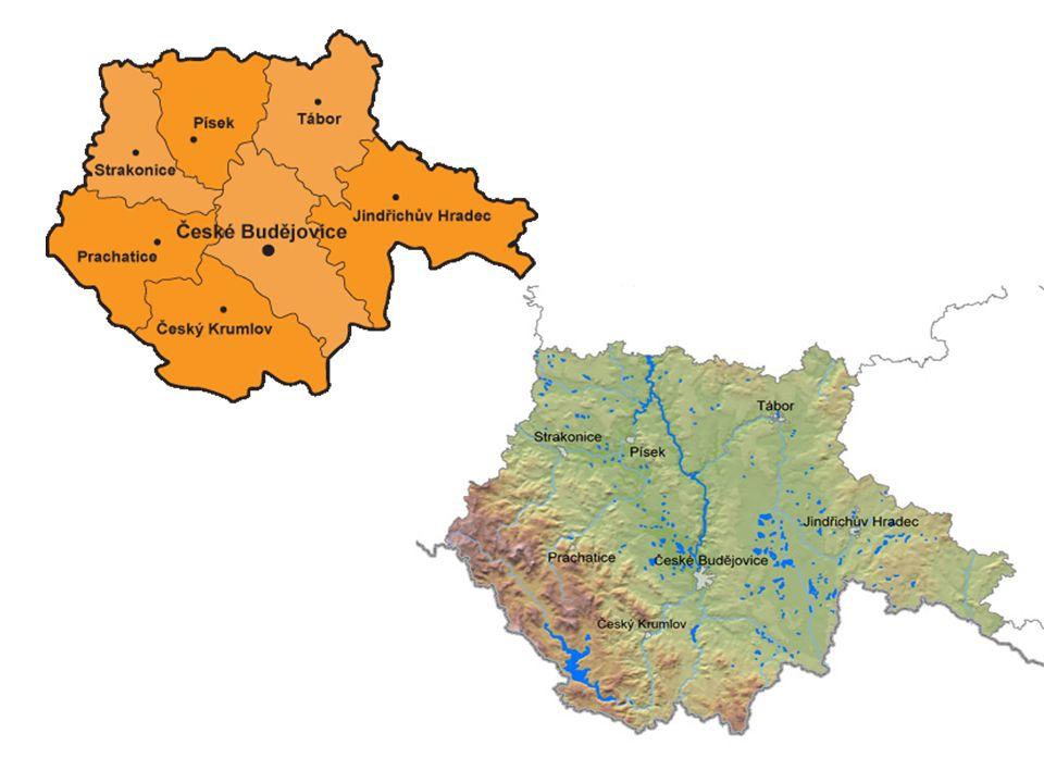 Povrch: Šumava (Plechý 1378m.n.m.), národní park Třeboňská pánev, Českobudějovická pánev, Novohradské hory, ze severu zasahuje Středočeská pahorkatina Podnebí: Chladnější a vlhčí (díky Šumavě) Litvínovice – nejnižší teplota naměřená v Čr (-42,2°C)