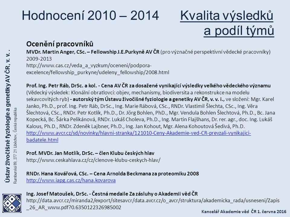 Kancelář Akademie věd ČR 1.června 2016 Ústav živočišné fyziologie a genetiky AV ČR, v.