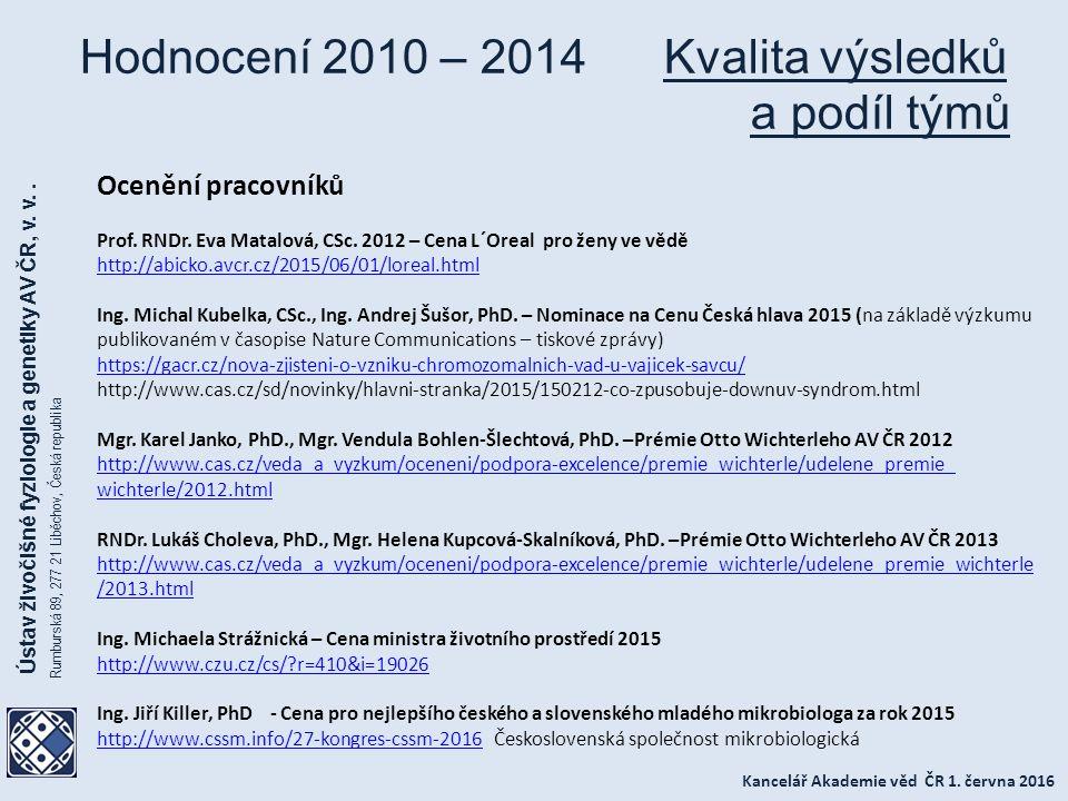 Kancelář Akademie věd ČR 1. června 2016 Ústav živočišné fyziologie a genetiky AV ČR, v.