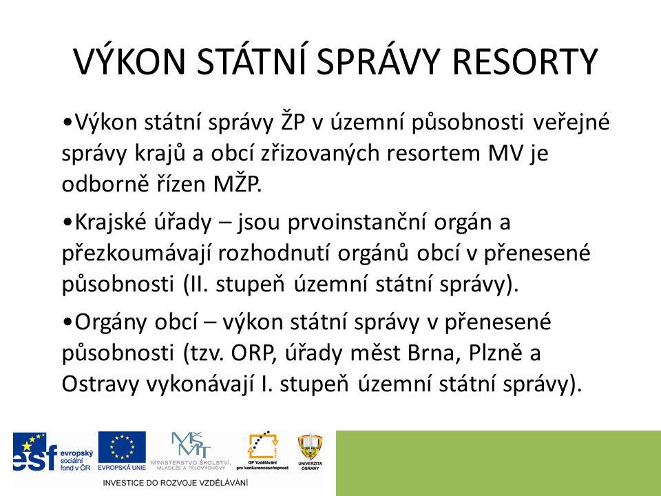 VÝKON STÁTNÍ SPRÁVY RESORTY Výkon státní správy ŽP v územní působnosti veřejné správy krajů a obcí zřizovaných resortem MV je odborně řízen MŽP.