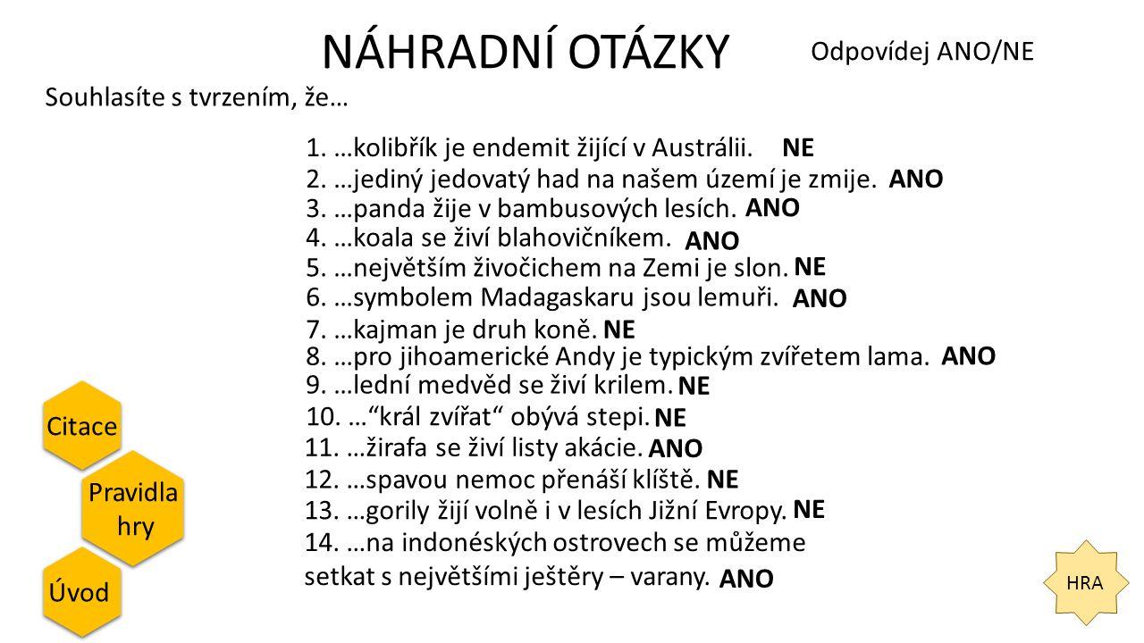 NÁHRADNÍ OTÁZKY HRA Citace Pravidla hry Pravidla hry Úvod Odpovídej ANO/NE Souhlasíte s tvrzením, že… 1. …kolibřík je endemit žijící v Austrálii.NE 2.
