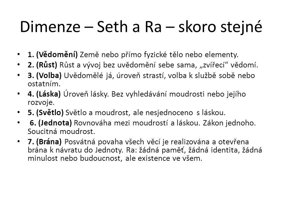 """Dimenze – Seth a Ra – skoro stejné 1. (Vědomění) Země nebo přímo fyzické tělo nebo elementy. 2. (Růst) Růst a vývoj bez uvědomění sebe sama, """"zvířecí"""""""