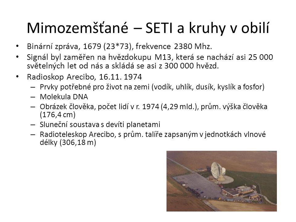 Mimozemšťané – SETI a kruhy v obilí Binární zpráva, 1679 (23*73), frekvence 2380 Mhz. Signál byl zaměřen na hvězdokupu M13, která se nachází asi 25 00