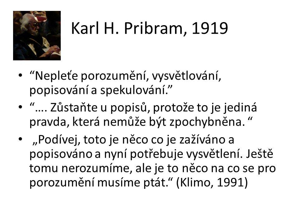 """Karl H. Pribram, 1919 """"Nepleťe porozumění, vysvětlování, popisování a spekulování."""" """"…. Zůstaňte u popisů, protože to je jediná pravda, která nemůže b"""