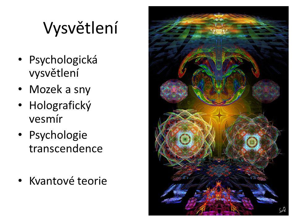 Vysvětlení Psychologická vysvětlení Mozek a sny Holografický vesmír Psychologie transcendence Kvantové teorie
