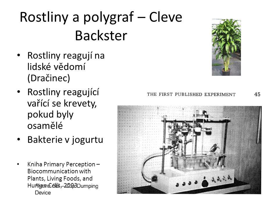 Rostliny a polygraf – Cleve Backster Rostliny reagují na lidské vědomí (Dračinec) Rostliny reagující vařící se krevety, pokud byly osamělé Bakterie v
