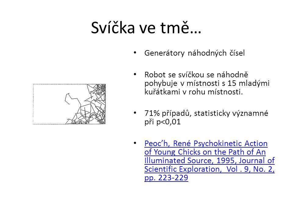 Svíčka ve tmě… Generátory náhodných čísel Robot se svíčkou se náhodně pohybuje v místnosti s 15 mladými kuřátkami v rohu místnosti. 71% případů, stati