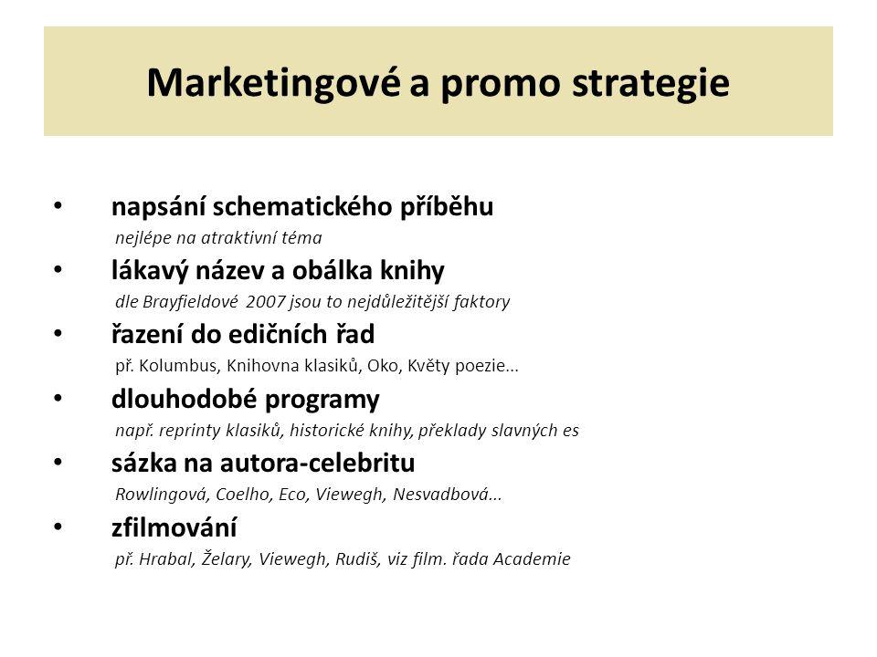 Marketingové a promo strategie napsání schematického příběhu nejlépe na atraktivní téma lákavý název a obálka knihy dle Brayfieldové 2007 jsou to nejdůležitější faktory řazení do edičních řad př.