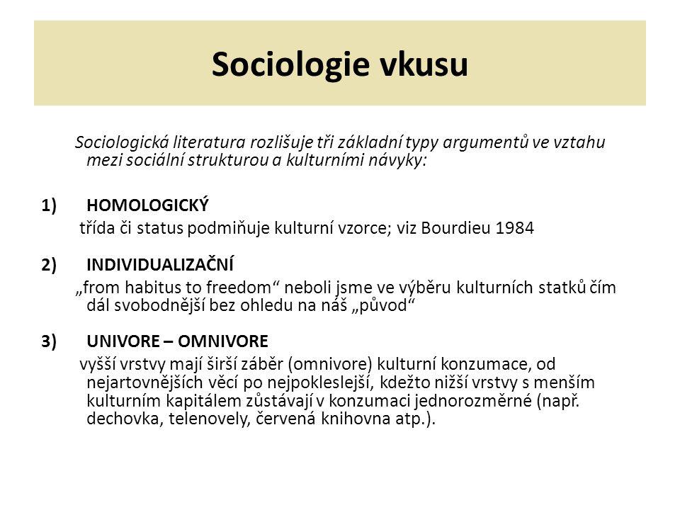 """Sociologie vkusu Sociologická literatura rozlišuje tři základní typy argumentů ve vztahu mezi sociální strukturou a kulturními návyky: 1)HOMOLOGICKÝ třída či status podmiňuje kulturní vzorce; viz Bourdieu 1984 2)INDIVIDUALIZAČNÍ """"from habitus to freedom neboli jsme ve výběru kulturních statků čím dál svobodnější bez ohledu na náš """"původ 3)UNIVORE – OMNIVORE vyšší vrstvy mají širší záběr (omnivore) kulturní konzumace, od nejartovnějších věcí po nejpokleslejší, kdežto nižší vrstvy s menším kulturním kapitálem zůstávají v konzumaci jednorozměrné (např."""